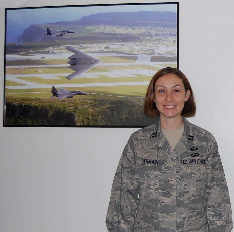 Capt. Catherine Germain has been chosen as the new 131st Bomb Wing Executive Officer. Captain Germain visited with Airmen at Lambert IAP, St. Louis, Mo. Sept 12, but will be working out of Whiteman Air Force Base, Warrensburg, Mo. (Photo by Senior Airman Jessica Donnelly)
