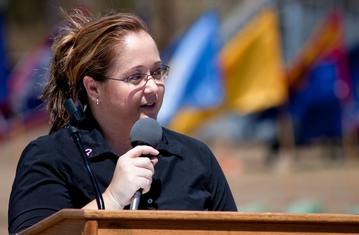 Jennifer Plunkett with the American Cancer Society exresses her gratitude for the unselfish contributions Federal employees make through the Combined Federal Campaign, Sept. 14 at Bordelon Field. U.S. Marine Corps Forces Pacific kicked off the 2009 CFC event under the title of executive agent,  bestowed by the CFC to act as a medium for the year-long term, promoting non-profit charities to all federal employees. (Official U.S. Marine Corps photo by Cpl. Achilles Tsantarliotis) (Released)