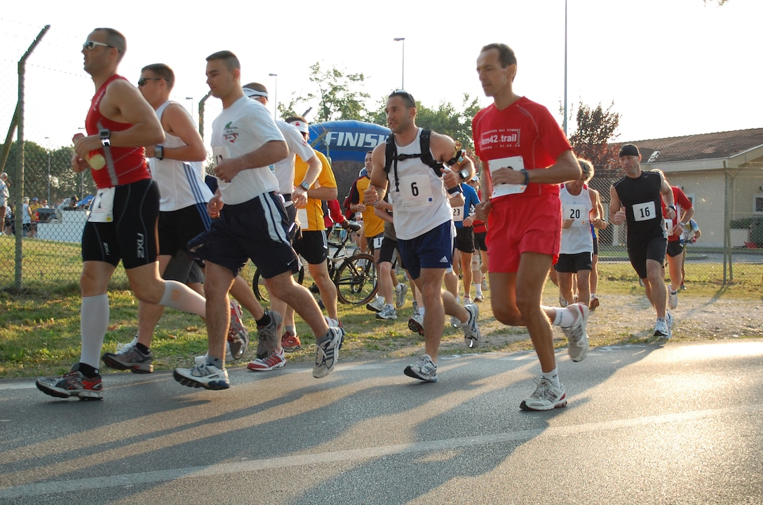 Participants of the Third Annual Aviano Marathon set out on the 42-kilometer course that traversed through the city of Aviano, Italy and surrounding communities located at the base of the Dolomite Mountains Sept. 13, 2009. Nearly 1,000 people participated in this year's event held in conjunction with the Aviano Road Runners' annual Volksmarch.  The annual event included a full marathon, half marathon, 10K, 5K and children's one-mile fun run. (U.S. Air Force photo/Staff Sgt. Lindsey Maurice)