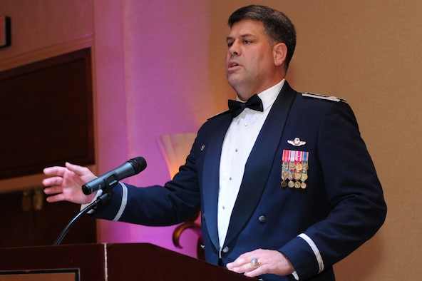 Col. Greg Otey, 19th Airlift Wing commander, gives his opening remarks kicking off the Air Force Ball at the Peabody Hotel, Little Rock, Ark.  Sep. 12. The Air Force Ball is an annual event held to honor the Air Force's rich heritage. (US Air Force photo by Senior Airman Jim Araos)