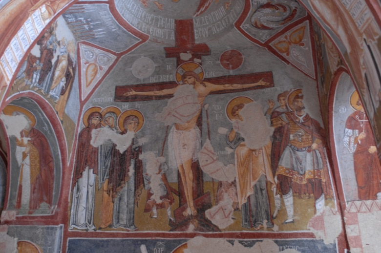 A frescoe fills the wall of a church at the Open Air Museum in Goreme, Turkey. The museum has 11 rock-cut churches with many frescoes dating to the 10th-12th centuries.(U.S. Air Force photo/Staff Sgt. Lauren Padden)