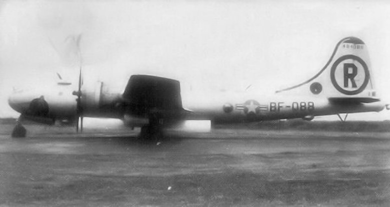 A B-29 Superfortress is parked in the aircraft parking area at Royal Air Force Scampton, England. This B-29 was part of several deployed from Ellsworth during the Berlin Airlift in 1948.  The B-29s were sent as a deterrent against communist aggression in Germany.  While the communist forces significantly outnumbered the Western military units conducting the humanitarian operation, the lethality of U.S. airpower from World War II was still a fresh memory. This deployment helped deter communist aggression and the airlift was successful.