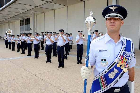 Master Sgt. Karl Bradley leads the Air Force Academy Band during a parade in honor of the Air Force's 62nd birthday at the Academy in Colorado Springs, Colo., Sept. 18, 2009. (U.S Air Force photo/Mike Kaplan)