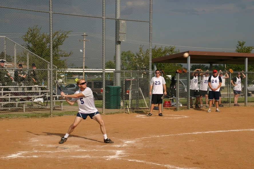 The Canadian and American components of the 552nd Air Control Wing played a friendly game of Softball 9 September in honor of the 30th anniversary of Canadian-American partnership. The 552 ACW Vice Commander, Col. Scott Forest, was a speedy addition to the American team. Photo courtesy of Mr. Kenneth LaFayette.