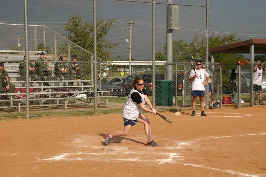 The Canadian and American components of the 552nd Air Control Wing played a friendly game of Softball 9 September in honor of the 30th anniversary of Canadian-American partnership. Despite the fierce competition, the American team won, 27 to 8. Photo courtesy of Mr. Kenneth LaFayette.