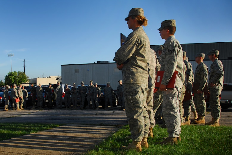 Airmen from the 115th Fighter Wing prepare for their voluntary deployment to Iraq in support of Operation Iraqi Freedom, at Truax Field, WI, Aug. 23.  The 115th FW will pair up with Airmen from the Iowa National Guard's 132nd Fighter Wing, Des Moines, to help cover the scheduled 90-day deployment. (U.S. Air Force photo by Staff Sgt. Ashley Bell)