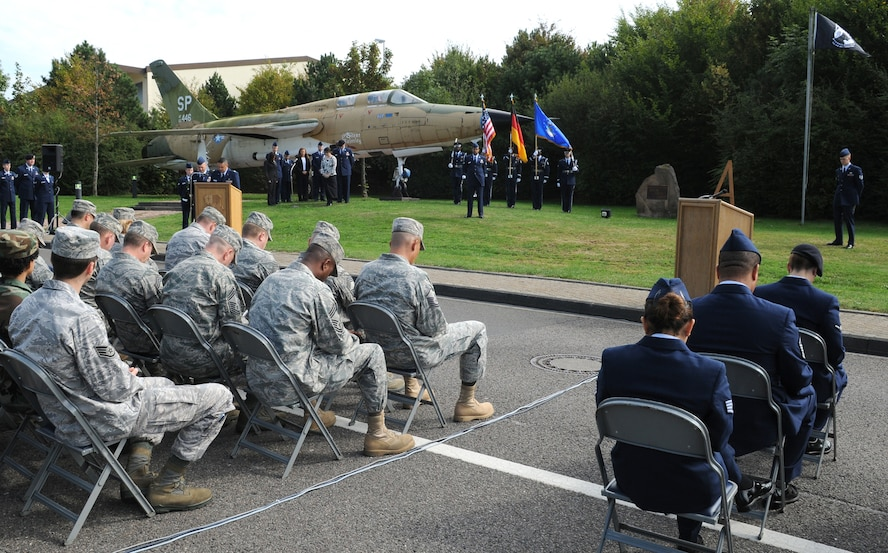 SPANGDAHLEM AIR BASE, Germany -- Chaplain (Capt.) Gabriel Rios, 52nd Fighter Wing, gives the invocation during the POW/MIA ceremony at the Air Park Sept. 18. About 200 members of the 52nd Fighter Wing came to the ceremony to honor and remember servicemembers listed as prisoners of war or missing in action. (U.S. Air Force photo/Airman 1st Class Nathanael Callon)