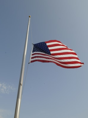 U.S. Flag at half staff.