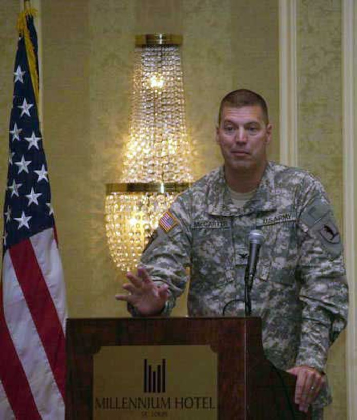 Col. Mark A McCarter, Mo National Guard head of strategic plans, policy, joint training and exercises, addresses the conference. McCarter pointed out that a response capability gap in one state could be filled by National Guard troops from another state. (Photo by Bill Phelan)