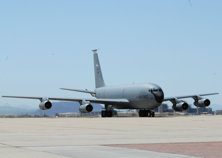 It was an historical day on the flight line at D-M Sept. 23, as the last KC-135E model touched down after its final flight. The aircraft that served the Air Force for more than 50 years will now spend its days basking in the sun in the 'Boneyard' and providing much needed parts to the rest of the fleet. (U.S. Air Force photo by Airman Jerilyn Quintanilla)