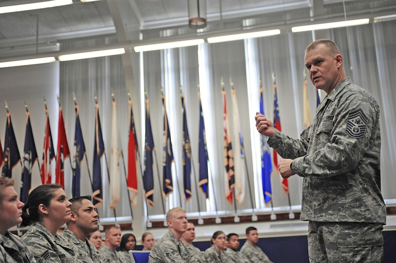 Chief Master Sgt. of the Air Force James A. Roy speaks to Airman Leadership School students about the importance of being a good leader and mentor Sept. 22, 2009, at Hurlburt Field, Fla. (U.S. Air Force photo/Senior Airman Julianne Showalter)