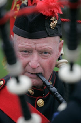 Joe Murphy, Leatherneck Pipe and Drums, warms up before the John Basilone Parade in Raritan, N.J., Sept 27. The parade is the largest military parade in the nation and honors Basilone, a native of the town, who received a Medal of Honor and Navy Cross for actions in Guadalcanal and Iwo Jima. (Marine Corps photo by Sgt. Randall A. Clinton)