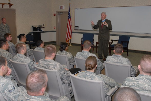 Col. Leo Thorsness, former prisoner of war, answers questions from Airman Leadership school students at Bldg. 711 Sept. 25. Colonel Thorsness is a retired Air Force pilot, Vietnam prisoner of war, and Congressional Medal of Honor recipient. (U.S. Air Force photo by Senior Airman Nathan Allen)