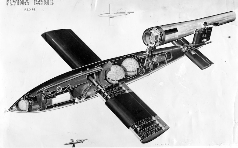 Cutaway drawing of a V-1 showing fuel cells, warhead and other equipment. (U.S. Air Force photo)
