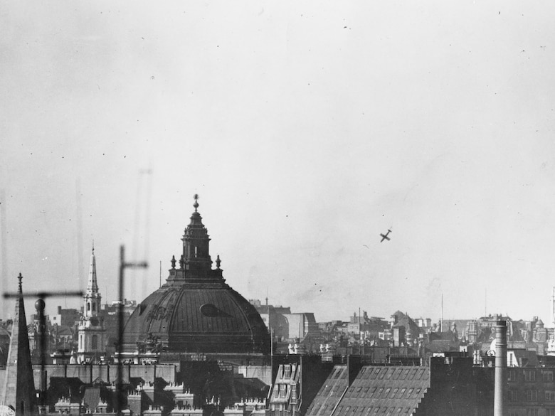 This V-1 made it through air defenses and fell on London. (U.S. Air Force photo)