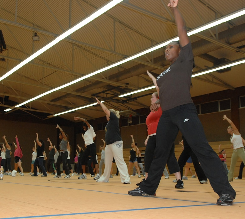 SPANGDAHLEM AIR BASE, Germany – Sabers participate in a rarely-offered Zumba class Sept. 25. Zumba incorporates dance and fitness, allowing its users to burn between 700 to 800 calories an hour. The class may be offered more frequently to sabers in the future. (U.S. Air Force photo/Airman 1st Class Staci Miller)