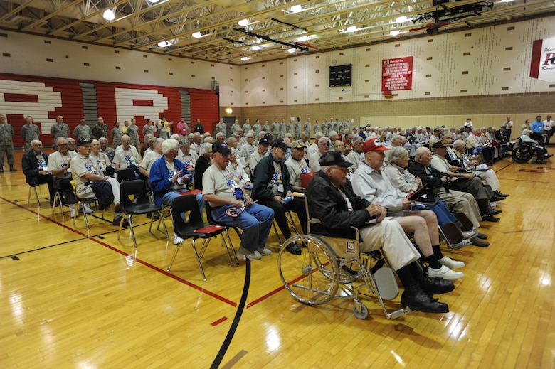 Veterans participating in the Northern Valley Honor Flight sit and relax after their trip Sept. 26 at Red River High School in Grand Forks, N.D. The Northern Valley Honor Flight gives World War II veterans a chance to see their memorial as well as other memorials in the nation's capitol. (U.S. Air Force photo by Staff Sgt. Suellyn F. Nuckolls)