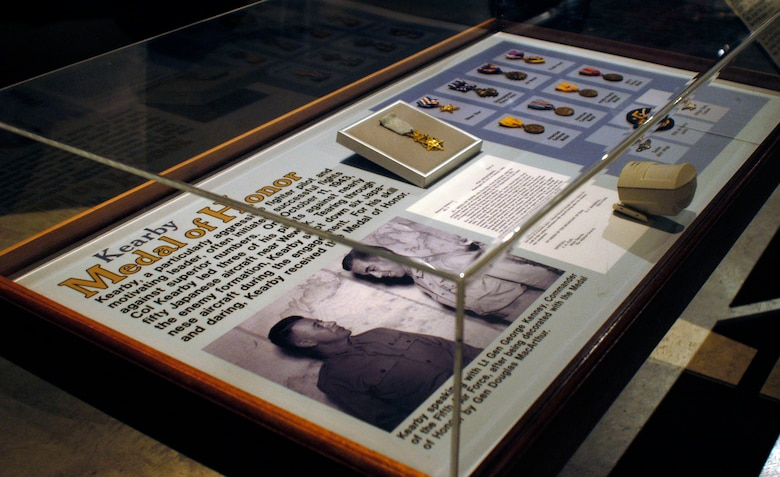 DAYTON, Ohio -- Col. Neel E. Kearby Medal of Honor on display in the World War II Gallery at the National Museum of the U.S. Air Force. (U.S. Air Force photo)
