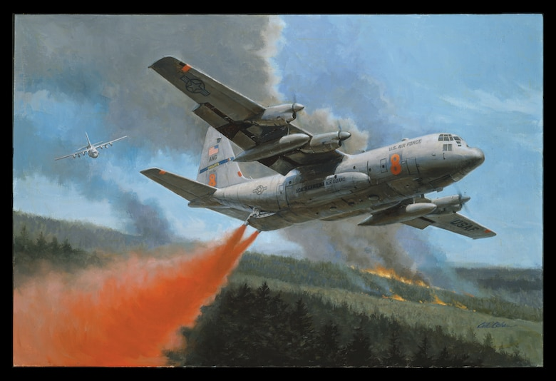 """One of two Modular Airborne Firefighting System (MAFFS) equipped C-130 Hercules aircraft from the 145th Airlift Wing, North Carolina Air National Guard, lays down a blanket of flame-retardant liquid over a forested area in Southern California. The fires, stoked by 100 mph Santa Ana winds, were categorized as a major disaster. The results were more than 300,000 people driven from their homes and nearly 500,000 acres of woodlands consumed in 12 counties. Also deployed to Southern California were two MAFFS equipped C-130 s from the 153rd Airlift Wing, Wyoming Air National Guard. The four Air National Guard C-130s, staged at Naval Air Station, Point Mugu, flew more than 40 missions in the first week of operations. The MAFFS, owned by the U.S. Forest Service, is a fire-suppressant apparatus that is loaded into the C-130's cargo area. Consisting of a series of five pressurized tanks, the MAFFS can hold 3,000 gallons of flame-retardant liquid that is dropped along the leading edge of a fire to block the spread of flames. Flown on Air National Guard and Air Force Reserve C-130 aircraft, the aircrews require special training to fly these civil support missions. MAFFS crews are buffeted by thermal gusts, wind, and smoke as they drop their payload while flying between 150 and 200 feet above the ground. Since 1974, the MAFFS has saved land, lives, and property from wildfires in the U.S. and abroad. Currently there are three Air National Guard C-130 units capable of operating MAFFS. In addition to the 145th AW and the 153rd AW, the 146th AW, California Air National Guard, also flies MAFFS-equipped C-130s. These units continue to stand at the ready to support civil emergencies.   This work of art """"Quenching the Flames"""" was painted by renowned Aviation Artist, Gil Cohen. To see how to download or order a print, go to: http://www.ng.mil/resources/photo_gallery/index.html"""