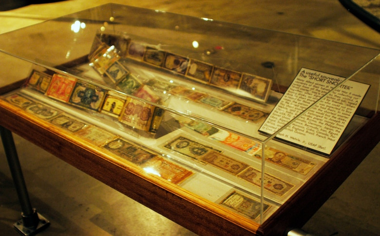 "Many Allied airmen in World War II made souvenirs of their travels by collecting currency from all the places they visited. A ""short snorter"" was a collection of bills taped together, often signed by friends. This short snorter belonged to Joseph Wehrle, and it includes paper money from China, India, Korea, Burma, the Phillippines, the U.S., Fiji, Australia, Germany, Japan, the Soviet Union, France, Bermuda, Iran, Egypt, Libya, Algeria, Morocco, Cuba, Canada, Portugal, Scotland, England, Brazil, French West Africa and British Guiana. (U.S. Air Force photo)"
