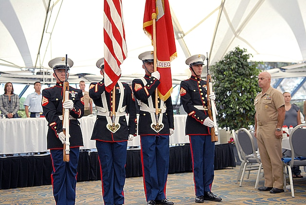 The Marine Corps Recruit Depot San Diego Color Guard preforms during the Fleet Week San Diego 2009 Enlisted Recognition Luncheon at SeaWorld San Diego, Sept. 30, 2009