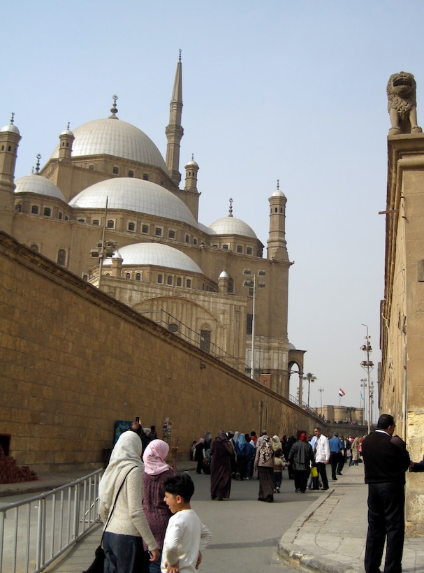 The Mosque of Muhammad Ali, regarded as the founder of modern Egypt, is visible from the outside walls of the Citadel of Cairo, Egypt. The Mosque of Muhammad Ali is located inside the Citadel of Cairo Egypt. The famous citadel was built between 1176 and 1183 A.D. to protect people and the territory from the Crusaders. The Mosque was built in 1830 and 1848 in memory of Tusun Pasha, Muhammad Ali's oldest son. The Citadel is a popular tourist spot because of its great history, fantastic architecture and view of the city. (U.S. Air Force photo/Senior Airman Sara Csurilla)