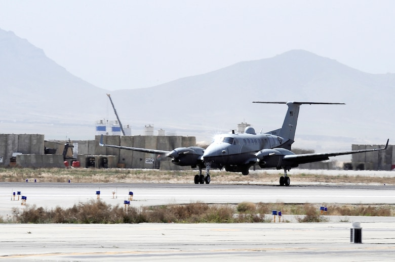 An MC-12 lands after a surveillance mission April 6, 2010 at Bagram Airfield, Afghanistan.  (U.S. Air Force photo/Tech. Sgt. Jeromy K. Cross)