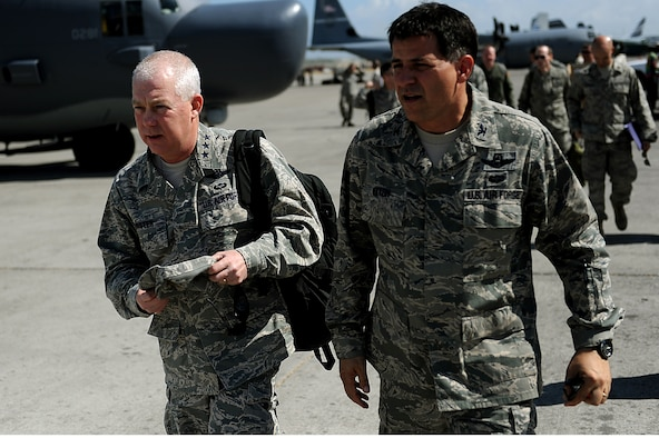 Lt. Gen. Donald Wurster, commander of Air Force Special Operations Command, left, and Col. Buck Elton, 1st Special Operations Group commander, tour the Toussaint L'Ouverture International Airport in Port-au-Prince, Haiti, Jan. 27 during Operation Unified Response. U.S. Department of Defense assets have been deployed to assist in the relief effort in Haiti in the wake of the 7.0-magnitude earthquake that occurred Jan. 12. (U.S. Air Force photo by Master Sgt. Jeremy Lock/Released)