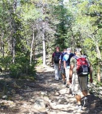 MOUNT HARVARD, Colo. - Schriever Airmen make their way up a trail on Mt. Harvard during a 2009 summer hiking trip. (courtesy photo)