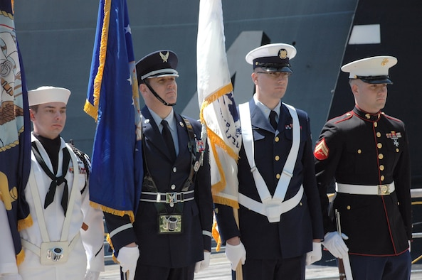 The opening of Armed Forces week ceremony at the Buffalo Naval Park, May 2008, Buffalo NY. Armed Forces week is a joint celebration of US Armed Forces and Canadian Guard. (U.S. Air Force photo by Staff Sgt. Joseph McKee)
