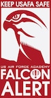 A logo for the Falcon Alert notification system.