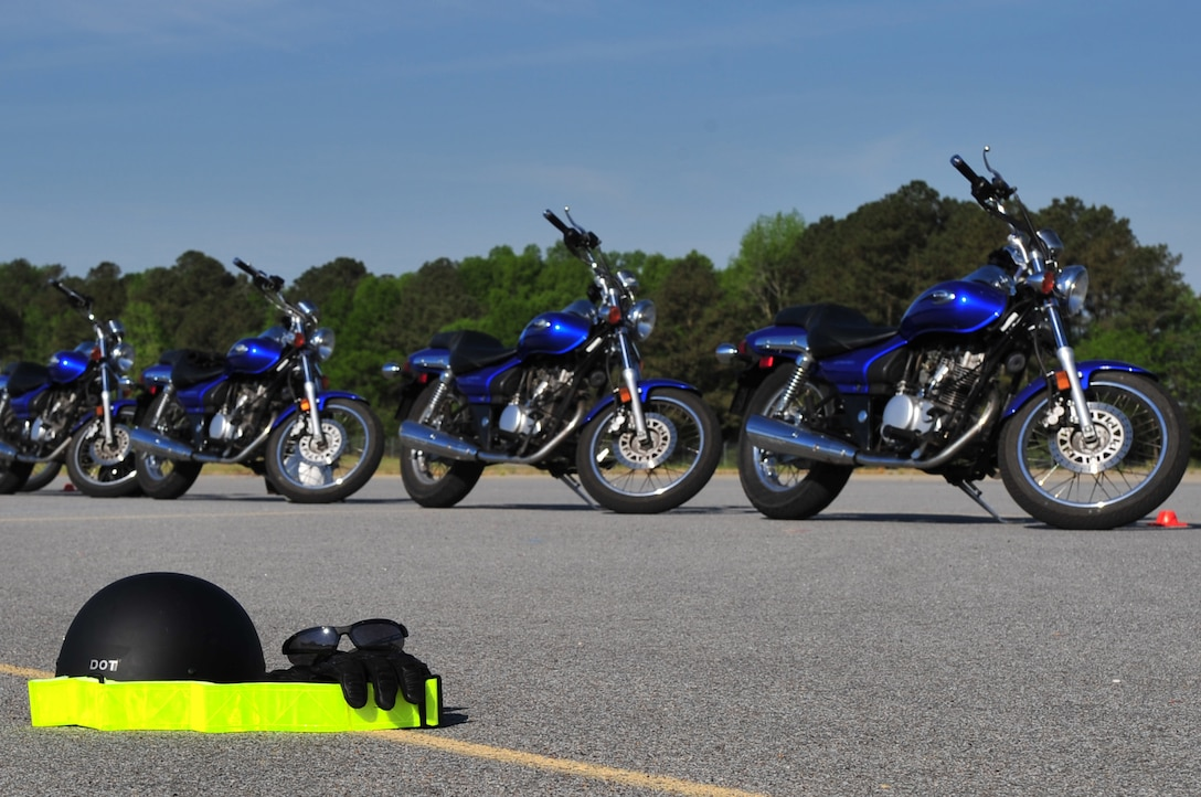 SEYMOUR JOHNSON AIR FORCE BASE, N.C. -- The Department of Defense mandates that all of its members wear protective and reflective gear when operating a motorcycle. This gear includes a Department of Transportation-approved helmet, riding gloves, eye protection, a long-sleeved shirt or jacket, long pants and over-the-ankle footwear. (U.S. Air Force photo/Senior Airman Rae Perry)