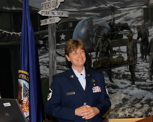 JOINT BASE MCGUIRE-DIX-LAKEHURST, N.J. - Master Sgt. Dorothy Close, 514th Aeromedical Evacuation Squadron, here, speaks of her deployed military experiences Mar. 31, at the East Orange Campus of the Veterans Affairs New Jersey Health Care System. The VA hosted a salute to National Women's History Month, with an emphasis on the Women Veterans Health Care Program the VA provides.