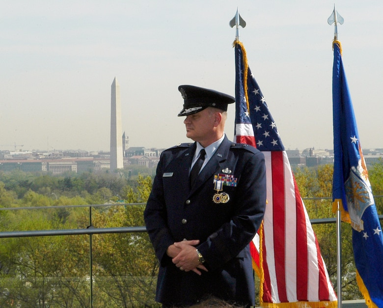 Brigadier General Dana A. Simmons, former Air Force Office of Special Investigations commander, retires in a ceremony at the Air Force Memorial located across from the Pentagon April 7. (U.S. Air Force photo/Tech. Sgt. John Jung)