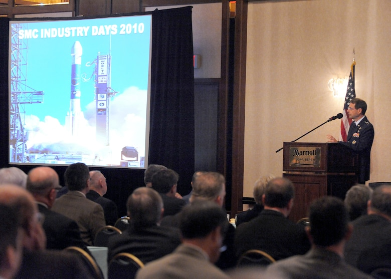 Lt. Gen. Tom Sheridan, Space and Missile Systems Center commander, was one of the many speakers during the SMC Industry Days 2010 at the Long Beach Marriott, Calif., April 6-8. The three-day event showcased Air Force Space and Missile Systems Center's current and upcoming programs, focusing on business opportunities in military space programs. The event was attended by almost 400 professionals representing more than 50 aerospace companies. Co-sponsors were AFA Schriever Chapter, AFCEA-LA Chapter, NDIA-LA Chapter and the Southern California Aerospace Professional Representative Association. (Photo by Joe Juarez)