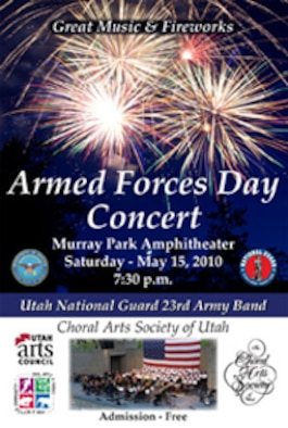 The Choral Arts Society of Utah will join forces with the Utah National Guard's 23rd Army Band for a rousing salute to the men and women in uniform May 15. A concert will be held at the Murray Park Amphitheater on Saturday, May 15 at 7:30 p.m. Admission is free, and no tickets are required.  The concert will feature military marches, including the Stars & Stripes Forever, and a fireworks display.