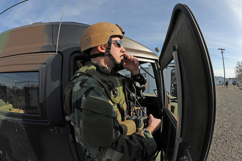 Staff Sgt. Greg Kirk, Idaho Air National Guard 124th Air Support Operations Squadron, communicates with aircraft during a training exercise in Grandview, Idaho, March 16, 2010. 124 ASOS members are training in a simulated attack by coordinating various aircraft to provide support to ground forces, including AH-64 Apache helicopter, A-10 Thunderbolt II's, and F-15 Strike Eagles.