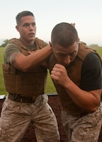 Sgt. Robert J. Porras, Marine Corps Martial Arts instructor, demonstrates a counter to the rear hand punch on Sgt. Joseph M Benezette, MCMAP instructor trainer, during green belt training April 11 at Bordelon Field, Camp H. M. Smith, Hawaii. Porras and Beneze