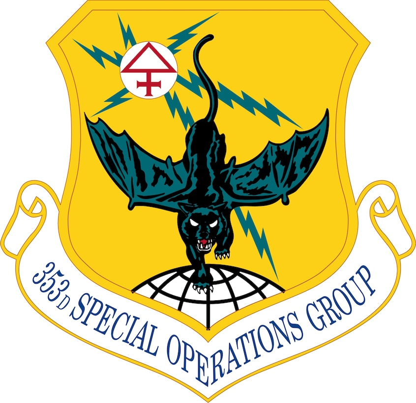 Ultramarine blue and Air Force yellow are the Air Force colors.  Blue alludes to the sky, the primary theater of Air Force operations.  Yellow refers to the sun and the excellence required of Air Force personnel.  The jagged lines of the lightning bolts as a star fix signify the electronic means used in shooting the stars in present day warfare.  The sulfur sign at the point of the fix on the disc historically dramatizes the enormity of the power which can be delivered to such a place as a result of the skill of the group.  The demi-globe represents the unit's ability to perform its functions anywhere in the world.  The in dark and light coloration of the batcat suggests the day and night flying capabilities of the Group.