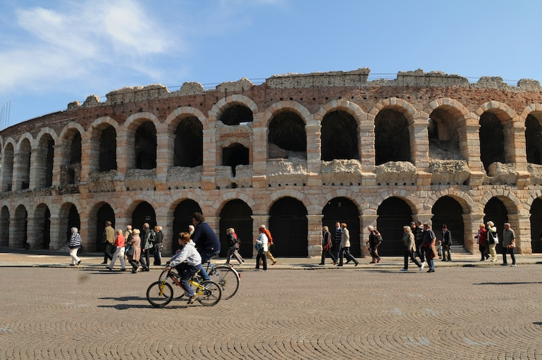 The Verona arena is the third largest arena in Italy. It measures 139 meters long and 110 meters wide, and could seat some 25,000 spectators in its 44 tiers of marble seats. (U.S. Air Force photo/ Staff Sgt. Taylor L. Marr)