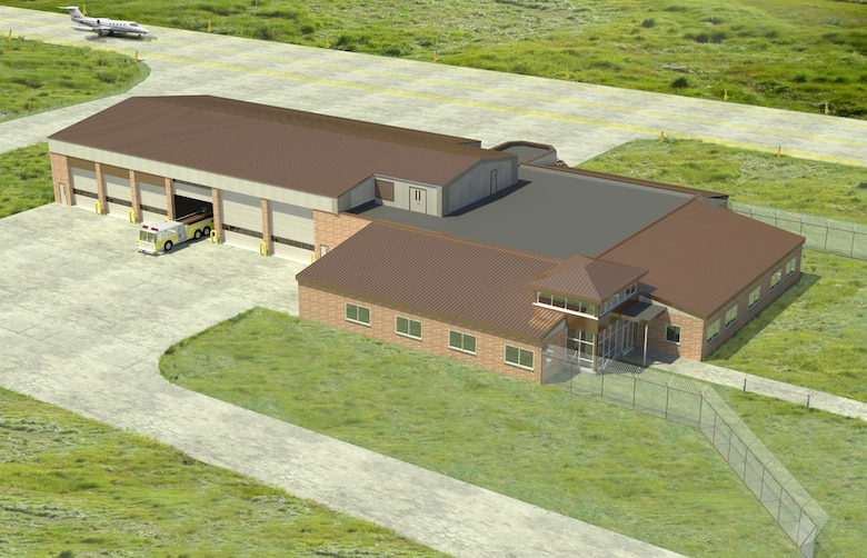 Aerial view of the design of the new 119th Wing fire, crash and rescue station that will be built at the North Dakota Air National Guard base in Fargo.  A groundbreaking ceremony for the new facility will take place on April 21.  T.F. Powers Construction Company will manage the construction and Zerr Berg Architects, Inc. designed the facility.