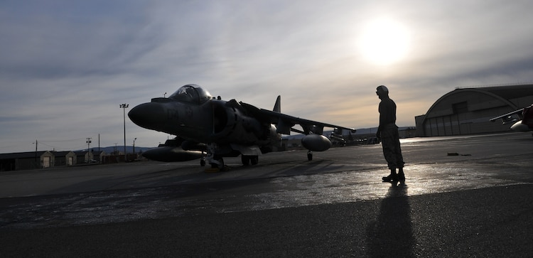 Sgt. Jensen Depue, Marine Attack Squadron 211 powerline mechanic, waits for Capt. Colin Newbold, squadron pilot, to take off in an AV-8B Harrier on the flight line of Eielson Air Force Base, Alaska, April 16, 2010. More than 160 Marines from VMA-211 and Marine Aviation Logistics Squadron 13 flew north to participate in Exercise Red Flag-Alaska, one of the largest joint-service exercises in the U.S. military. The exercise is meant to increase pilots' survivability, running them through combat missions including ordnance delivery, enemy evasion and aerial refueling.