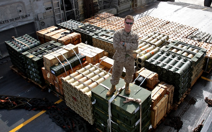 Cpl. Will D. Hoover, ammunition technician with Headquarters platoon, Combat Logistics Battalion 24, 24th Marine Expeditionary Unit, safeguards an ammunition load aboard a Landing Craft, Air Cushioned vessel from USS Ashland to shore April 17, 2010.  Hoover is currently the only ammo technician serving as an ammunition liaison while it's stored for upcoming training events during the 24th MEU's deployment.  The 24th MEU is currently on a seven month deployment, and is the theatre reserve force for Central Command.  (U.S. Marine Corps photo by Sgt. Alex C. Sauceda)