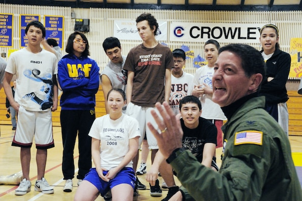 Col. Dominic DeFrancis laughs with students from Kotzebue High School during his visit for Operation Arctic Care 2010 April 16 through 17 in Kotzebue, Alaska. Colonel DeFrancis is the Air Force Reserve Command Surgeon General. (U.S. Air Force photo/Tech. Sgt. Melissa E. Chatham)