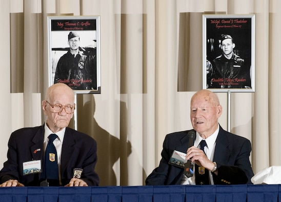 Doolittle Raiders Maj. Thomas Griffin and Master Sgt. David J. Thatcher participate in a question and answer session with the media April 16, 2010, at the National Museum of the U.S. Air Force at Wright-Patterson Air Force Base, Ohio. (U.S. Air Force photo/Lance Cheung)