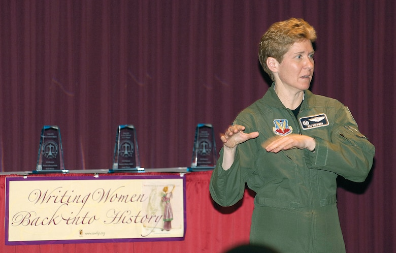 Col Patricia Hoffman, 552nd Air Control Wing commander, speaks at Tinker's Womens History Month Luncheon. (Air Force photo by Margo Wright)