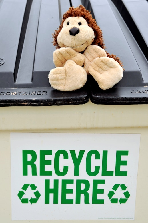 BUCKLEY AIR FORCE BASE, Colo. -- Recycling reduces pollution emissions caused by the manufacturing of new materials. Remember, saving the Earth is easy. It's so easy a monkey can do it.  (U.S. Air Force photo by Staff Sgt. Kathrine McDowell)
