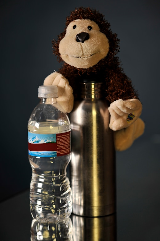 BUCKLEY AIR FORCE BASE, Colo. -- Use a reusable bottle for water like stainless steel containers. It takes 47 millions gallons of oil every year to meet the demand for disposable water bottles. Remember, saving the Earth is easy. It's so easy a monkey can do it.  (U.S. Air Force graphic by Staff Sgt. Kathrine McDowell)