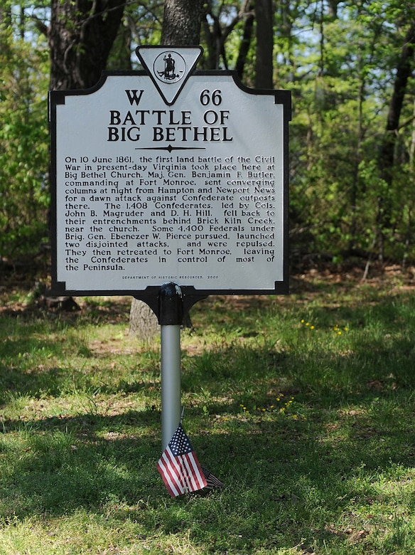 LANGLEY AIR FORCE BASE, Va. -- A historical sign commemorating the Battle of Big Bethel is shown at Bethel Park April 15. The Battle of Big Bethel was the first land battle of the Civil War in Virginia and a major victory for the Confederate Army. (U.S. Air Force photo/Airman Rebecca Montez)