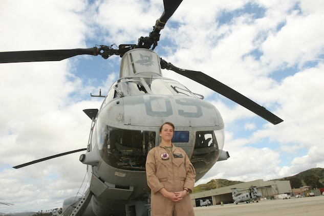 """Capt. Eileen C. Donovan became a CH-46E """"Sea Knight"""" pilot like her father, Joseph P. Donovan, and after a little searching, discovered the same helicoper he once flew in, was with his old squadron, Marine Medium Helicopter Squadron 364. She flew the same Sea Knight 41 years after he did in Vietnam. ::r::::n::(Official U.S. Marine Corps photo by Cpl. Christopher O'Quin/Released)"""